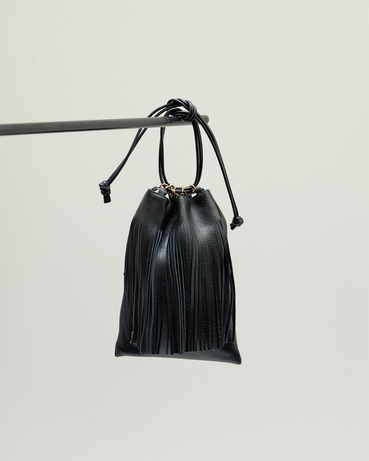 LEATHER FRINGE POUCH 詳細画像 BLACK 1