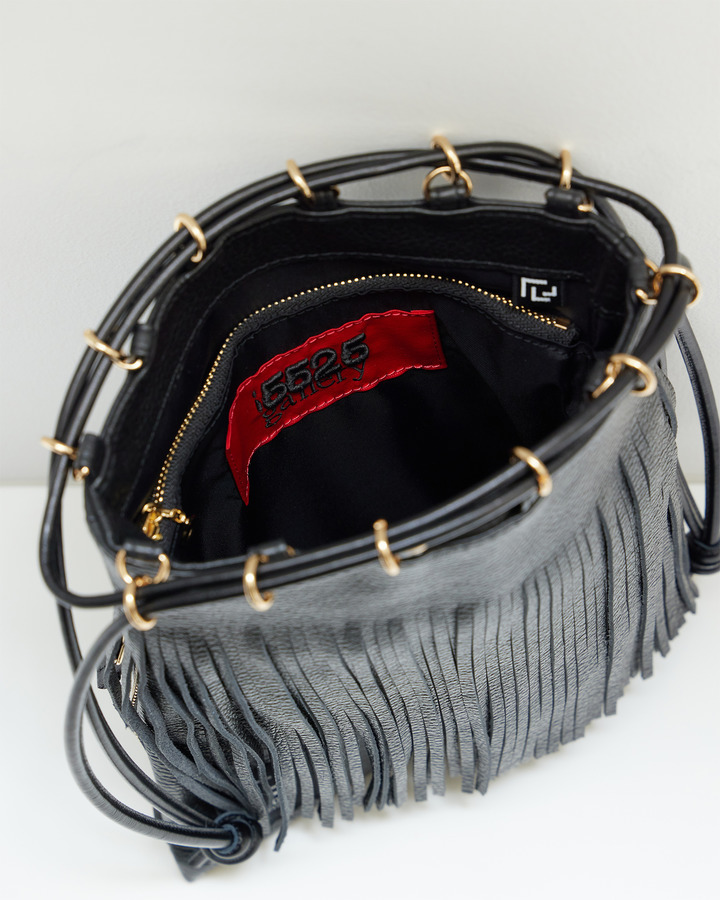 LEATHER FRINGE POUCH 詳細画像 BLACK 4