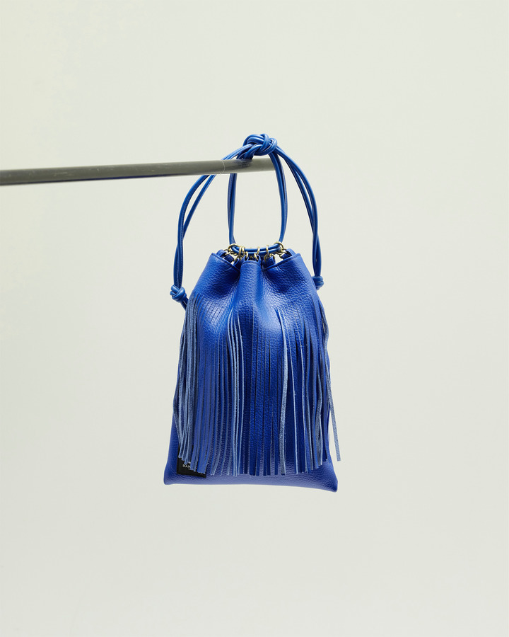 LEATHER FRINGE POUCH 詳細画像 BLUE 1