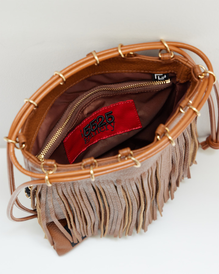 LEATHER FRINGE POUCH 詳細画像 BROWN 4