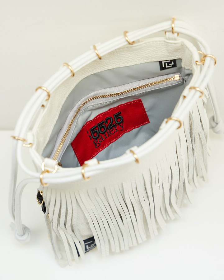 LEATHER FRINGE POUCH 詳細画像 WHITE 4